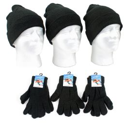 120 Units of Adult Beanie Knit Hats And Magic Gloves Combo Packs - Winter Sets Scarves , Hats & Gloves