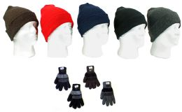 120 Units of Cuffed Winter Knit Hats And Knit Gloves Combo Packs - Winter Sets Scarves , Hats & Gloves