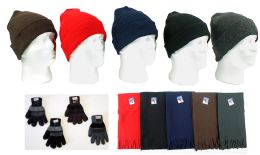 180 Units of Cuffed Winter Knit Hats, Men's Knit Gloves, And Assorted Scarves - Winter Sets Scarves , Hats & Gloves