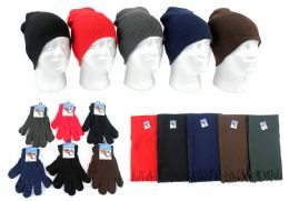 180 Units of Adult Beanie Knit Hats, Magic Gloves, And Solid Scarves Combo Packs - Winter Sets Scarves , Hats & Gloves