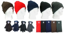180 Units of Cuffed Winter Knit Hats, Men's Fleece Gloves, And Assorted Scarves - Winter Sets Scarves , Hats & Gloves