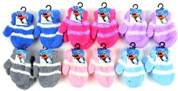 60 Units of Baby Fuzzy Mittens - Striped - Winter Sets Scarves , Hats & Gloves