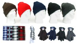 180 Units of Cuffed Winter Hats, Fleece Gloves, And Checkered Scarves Combo Packs - Winter Sets Scarves , Hats & Gloves