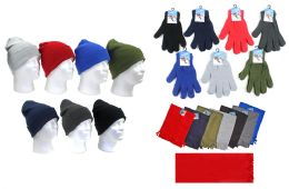 180 Units of Adult Winter Knit Hats, Magic Stretch Gloves & Solid Scarves - Winter Sets Scarves , Hats & Gloves