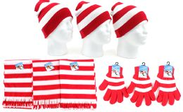 180 Units of Christmas Striped Beanie Knit Hats, Magic Gloves, & Scarves - Winter Sets Scarves , Hats & Gloves