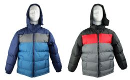 12 Units of Kid's Winter Bubble Ski Jackets w/ Detachable Hood - Sizes 8-20 - Choose Your Color(s) - Junior Kids Winter Wear