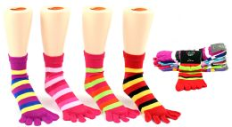 24 Units of Girl's Toe Socks - Striped Print - Size 6-8 - Woman & Junior Girls