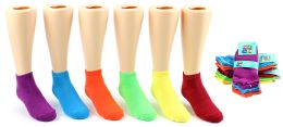 24 Units of Girl's Low Cut Novelty Socks - Neon Solid Colors - Size 6-8 - Girls Ankle Sock