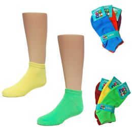 24 Units of Toddler Girl's Low Cut Novelty Socks - Neon Solid Colors - Size 2-4 - Girls Ankle Sock