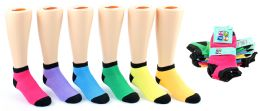 24 Units of Girl's Low Cut Novelty Socks - Neon w/ Black Heel & Toe - Size 6-8 - Girls Ankle Sock