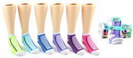 24 Units of Girl's Low Cut Novelty Socks - Sneaker Print - Size 6-8 - Girls Ankle Sock