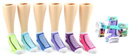 24 Units of Girl's Low Cut Novelty Socks - Sneaker Print - Size 4-6 - Girls Ankle Sock