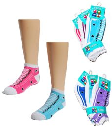 24 Units of Toddler Girl's Low Cut Novelty Socks - Sneaker Print - Size 2-4 - Girls Ankle Sock