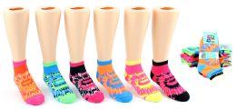 24 Units of Girl's Low Cut Novelty Socks - Tie Dye Print - Size 4-6 - Girls Ankle Sock