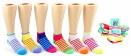 24 Units of Girl's Low Cut Novelty Socks - Striped Print - Size 6-8 - Girls Ankle Sock