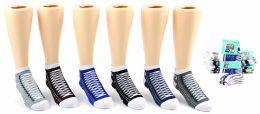 24 Units of Boy's Low Cut Novelty Socks - Sneaker Print - Size 6-8 - Boys Ankle Sock