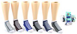 24 Units of Boy's Low Cut Novelty Socks - Sneaker Print - Size 4-6 - Woman & Junior Girls