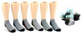 24 Units of Boy's Low Cut Novelty Socks - Grey & Black w/ Neon Contrast - Size 4-6 - Boys Ankle Sock