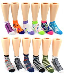 60 Units of Children's Novelty Ankle Crew - Assorted Styles & Sizes - Boys Ankle Sock