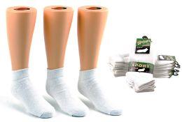 24 Units of Children's Athletic Ankle Socks - White - Size 6-8 - Boys Ankle Sock