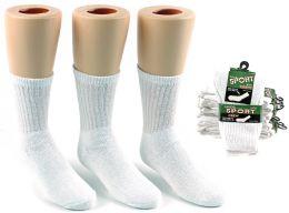 24 Units of Children's Athletic Crew Socks - White - Size 6-8 - Boys Crew Sock