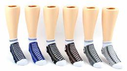 24 Units of Kid's Novelty Ankle Socks - Sneaker Print - Size 4-6 - Boys Ankle Sock