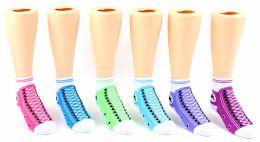 24 Units of Toddler's Novelty Ankle Socks - Sneaker Print - Size 2-4 - Boys Ankle Sock