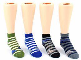 24 Units of Kid's Novelty Ankle Socks - Striped Dinosaur Print - Size 6-8 - Boys Ankle Sock