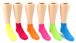 24 Units of Kid's Novelty Ankle Socks - Solid Neon Colors - Size 6-8 - Girls Ankle Sock