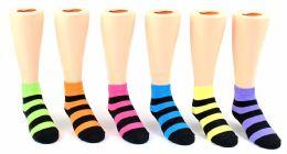 24 Units of Kid's Novelty Ankle Socks - Neon & Black Stripes - Size 6-8 - Boys Ankle Sock
