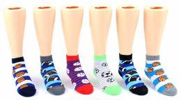 24 Units of Kid's Novelty Ankle Socks - Sport Print - Size 4-6 - Boys Ankle Sock