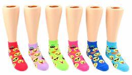 24 Units of Toddler's Novelty Ankle Socks - Emoji Print - Size 2-4 - Girls Ankle Sock
