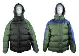 12 Units of Men's Winter Bubble Ski Jackets w/ Detachable Hood - Choose Your Color(s) - Mens Jackets