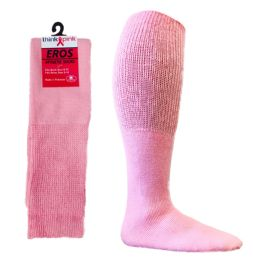 36 Units of Pink Football Socks For 3787 - Teen's Size 9-11 - Breast Cancer Awareness Socks