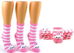 24 Units of Women's Fuzzy Crew Socks with 3-D Bunny - Size 9-11 - Womens Fuzzy Socks