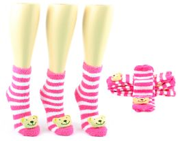 24 Units of Women's Fuzzy Ankle Socks with 3-D Bear - Size 9-11 - Womens Fuzzy Socks