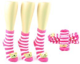 24 Units of Women's Fuzzy Ankle Socks With 3-D Bear - Size 9-11 - Womens Fuzzy Socks