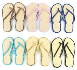 96 Units of Women's Bamboo Flip Flops - Solid Color Trim - Women's Flip Flops