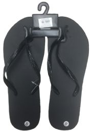 48 Units of Women's Flip Flops - Black - Women's Flip Flops