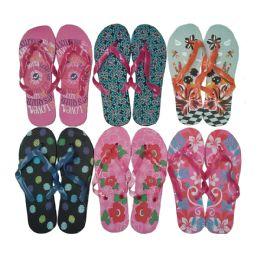 72 Units of Women's Flip Flops - Assorted Patterns - Women's Flip Flops