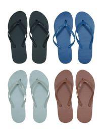 96 Units of Men's Flip Flops - Solid Colors - Men's Flip Flops and Sandals