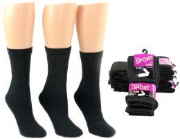 24 Units of Women's Athletic Tube Socks - Black - Size 9-11 - Woman & Junior Girls