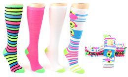 6 Units of Women's Knee High Novelty Socks - Assorted Neon Prints - Size 9-11 - 4-Pair Packs - Womens Knee Highs