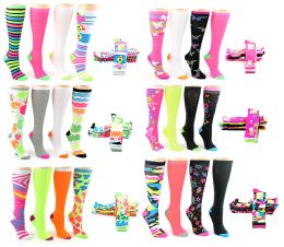 24 Units of Women's Knee High Novelty Socks - Assorted Neon Prints - Size 9-11 - 4-Pair Packs - Womens Knee Highs