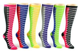 24 Units of Women's Knee High Novelty Socks - Sneaker Print - Size 9-11 - Womens Knee Highs