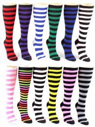 24 Units of Women's Knee High Novelty Socks - Striped Print - Size 9-11 - Womens Knee Highs