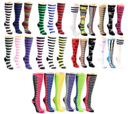 120 Units of Women's Knee High Novelty Socks - Assorted Styles - Size 9-11 - Womens Knee Highs