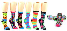 24 Units of Women's Novelty Crew Socks - Neon Prints - Size 9-11 - Womens Crew Sock