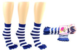 24 Units of Women's Toe Socks - Blue & White Striped Print - Size 9-11 - Women's Toe Sock