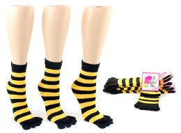 24 Units of Women's Toe Socks - Black & Gold Striped Print - Size 9-11 - Women's Toe Sock